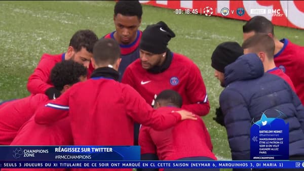 Neymar à l'échauffement de Man City-PSG