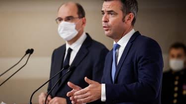 Le ministre de la Santé Olivier Véran et le Premier ministre Jean Castex le 22 octobre 2020.