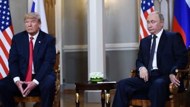 Donald Trump et Vladimir Poutine lors du premier jour de leur sommet à Helsinki le 16 juillet 2018