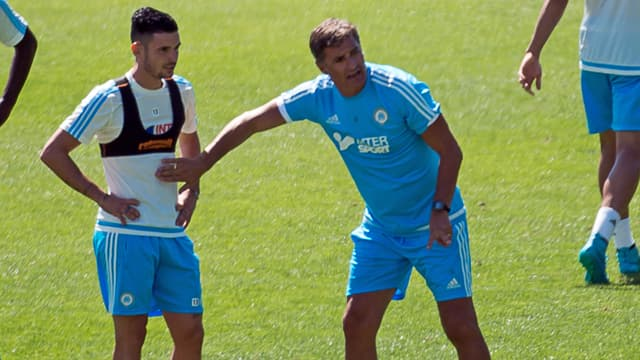 Rémy Cabella et Michel, le nouvel entraîneur marseillais