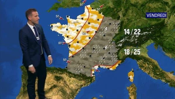 Carte de France des prévisions météo pour vendredi.