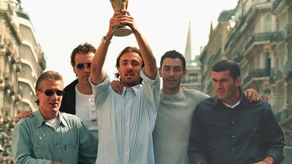 Didier Deschamps, Laurent Blanc, Christophe Dugarry, Robert Pires et Zinedine Zidane à Marseille en aout 98