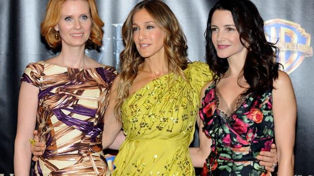 "Les héroïnes de ""Sex and the City"", Cynthia Nixon, Sarah Jessica Parker et Kristin Davis, en 2010"