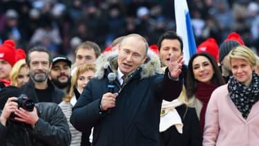 Le président russe Vladimir Poutine lors d'un meeting de soutien à sa candidature à Moscou, le 3 mars 2018.