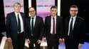 Les 4 candidats au poste de premier secrétaire du PS lors du débat organisé le 7 mars 2018.