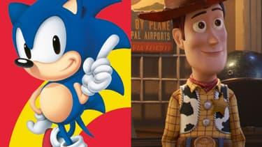 Sonic et Woody dans Toy Story