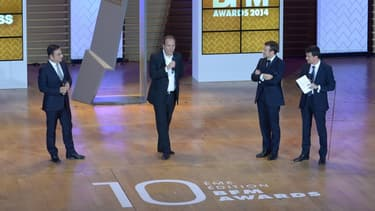 La 10ème édition des BFM Awards a réuni sur scène Carlos Ghosn de Renault, Xavier Niel de Free, le Premier ministre Manuel Valls et son collègue à l'Economie Emmanuel Macron.