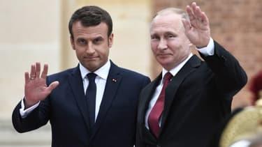 Emmanuel Macron et Vladimir Poutine lors de leur rencontre à Versailles, le 29 mai 2017.