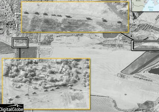 Une image satellite capturée le 21 août montre, selon l'Otan, un convoi de blindés russes dans la région de Krasnodon, dans l'Est de l'Ukraine.