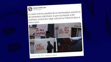 La façade des locaux de Génération identitaire vandalisée à Lyon