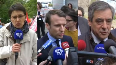 Nathalie Arthaud, Emmanuel Macron, François Fillon le 18 avril 2017.