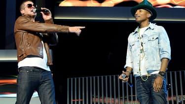 Robin Thicke et Pharrell Williams en juin 2014.