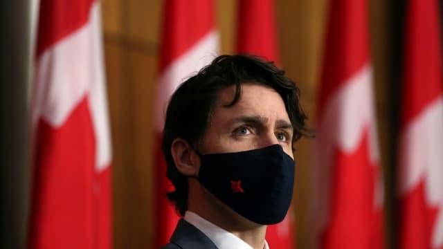 Le Premier ministre canadien Justin Trudeau lors d'une conférence de presse à Ottawa le 16 avril 2021