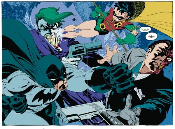 Le Joker, Robin, Batman et Double-Face dans Amère victoire.