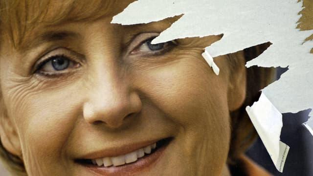 Une affiche électorale de la CDU à Berlin lors de la campagne pour les élections fédérales de 2005, à l'issue desquelles Angela Merkel deviendra chancelière.