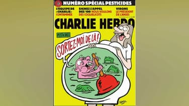 La Une du Charlie Hebdo consacré aux pesticides, à paraître le mercredi 12 septembre 2018.