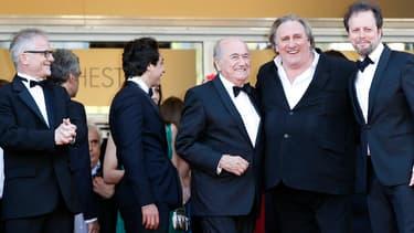Thierry Frémaux, Sepp Blatter, Gérard Depardieu et Frédéric Auburtin lors du festival de Cannes 2014