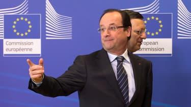 François Hollande, ce mercredi à Bruxelles, devant le président de la Commission européenne, José Manuel Barroso.