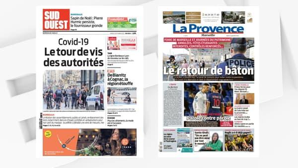 """Les unes de """"Sud Ouest"""" et """"La Provence"""" le 15 septembre 2020."""