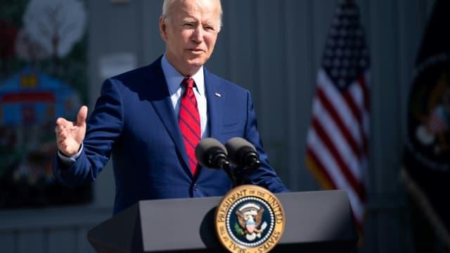 Le président américain Joe Biden, lors de la visite d'une école, le 10 septembre 2021 à Washington