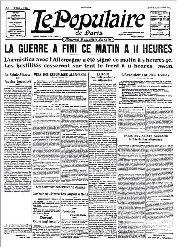 La Une du Populaire de Paris du 15 novembre 1915
