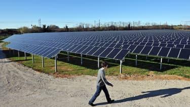 La première centrale solaire photovoltaïque au sol en France,à Lunel,dans l'Hérault (illustration)