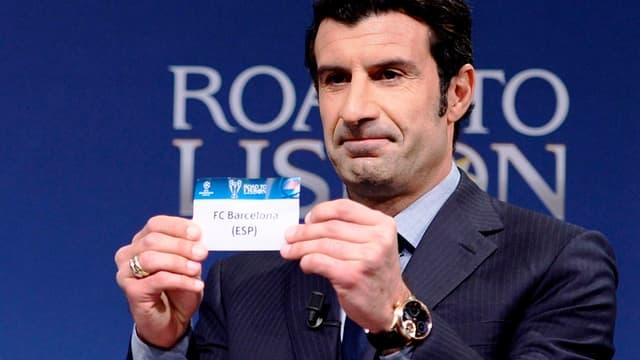 Luis Figo au tirage au sort de la Ligue des champions