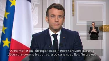 Emmanuel Macron lors de ses voeux aux Français ce jeudi 31 décembre 2020.