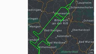 Une capture d'écran d'Instagram réalisée le 27 décembre 2020 montre l'itinéraire de vol de près de 300 kilomètres sous la forme d'une seringue géante dans le ciel dans le sud de l'Allemagne.
