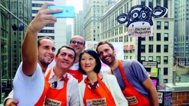 Le selfie sur les toits de New-York des équipes américaines de Michel et Augustin avec Fleur Pellerin