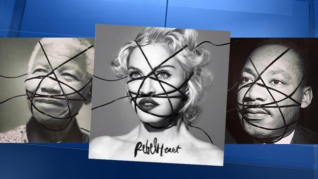 Madonna a fiat des photos montages de grandes célébrités pour la promotion de son nouvel album.