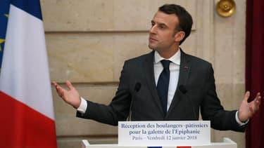 Emmanuel Macron lors de la cérémonie de la galette à l'Elysée le 12 janvier 2018.