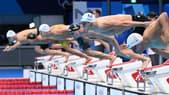 Clément Mignon lors du relais 4x100m nage libre aux JO de Tokyo
