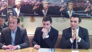 Dominique Joly, secrétaire FN dans le Val-de-Marne, Alexandre Gaborit, candidat FN à Villejuif, et Florian Philippot, vice-président du FN mercredi.