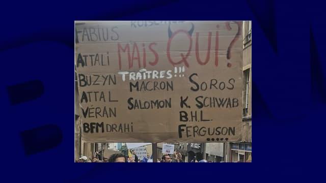 La pancarte antisémite brandie dans le cortège de Metz samedi