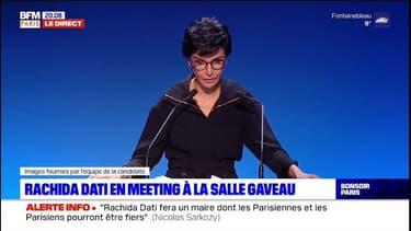 """En meeting à la Salle Gaveau, Rachida Dati exprime sa gratitude à Nicolas Sarkozy. Un homme """"sans calcul, sans arrière-pensée, pas toujours commode mais toujours vrai"""""""
