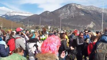 Près d'un millier de personnes se sont réunies dimanche à Annecy pour protester contre les restrictions sanitaires.  (capture d'écran Twitter)