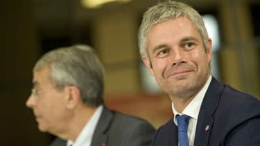 Laurent Wauquiez, aux côtés du candidat frontiste Christophe Boudot.