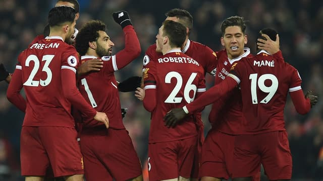 La joie des Reds lors de la victoire contre City en Premier League