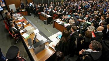 La salle d'audience du tribunal de Rome le jour de l'ouverture du procès de Mafia capitale, le 5 novembre 2015.