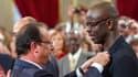 François Hollande décorant du grade d'Officier de la Légion d'honneur, Lilian Thuram