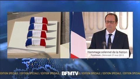"""""""Prenez place!"""", Hollande aux résistants qui entrent au Panthéon"""