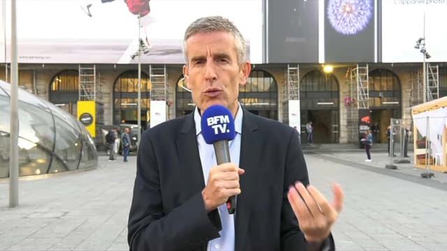 Le directeur général SNCF Transilien en gare Saint-Lazare ce mercredi  matin.