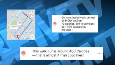 Google Maps proposait aux utilisateurs de comptabiliser le nombre de calories brûlées lors d'un itinéraire à pied.