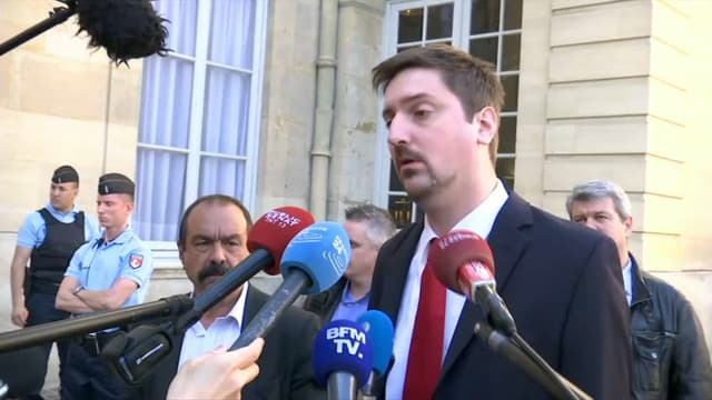 Laurent Brun, le secrétaire général de la CGT Cheminots à la sortie de Matignon.