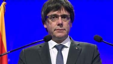 Carles Puigdemont lors d'une allocution le 2 octobre 2017