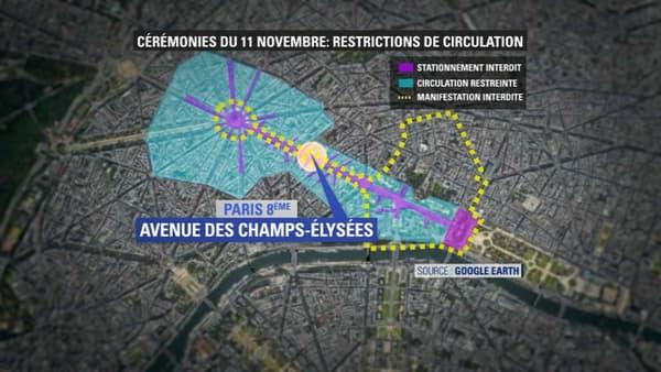 Restrictions de circulation ce lundi autour des Champs-Élysées.