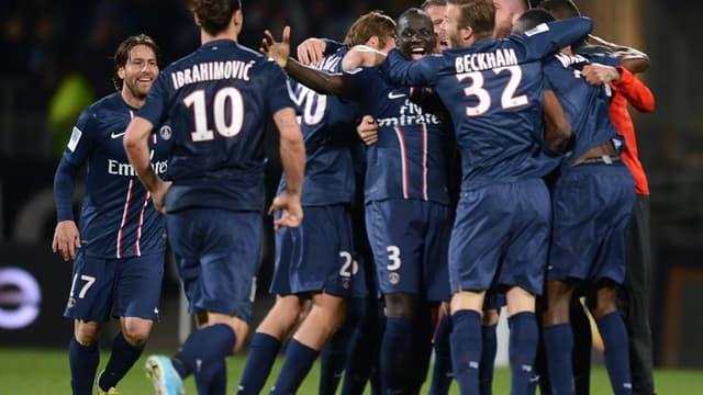La joie des joueurs du PSG, champions de France
