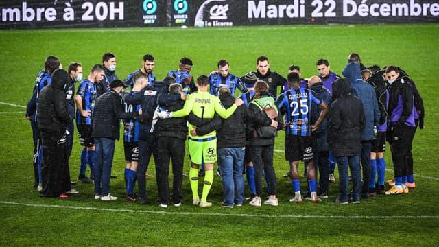 Les joueurs de Chambly, à Amiens le 12 décembre 2020