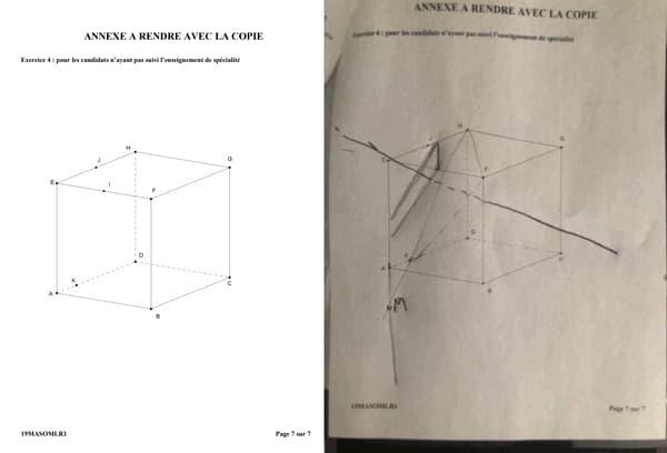 A gauche, le sujet distribué le jour du bac de mathématiques de S, à droite le sujet avec un corrigé à la main, ayant apparemment fuité sur le site TI Planet